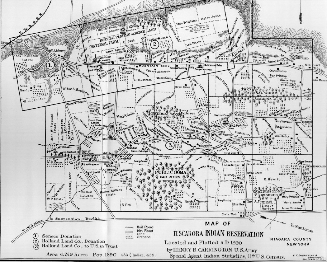 Map Of New York Indian Reservations.Tuscarora Indian Reservation Map From 1890
